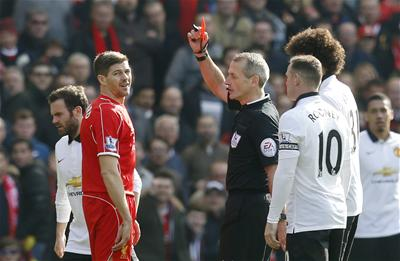 Gerrard given his marching orders 38 seconds after coming on as sub