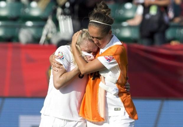 Pain: Laura Bassett in tears after her own goal heartbreak
